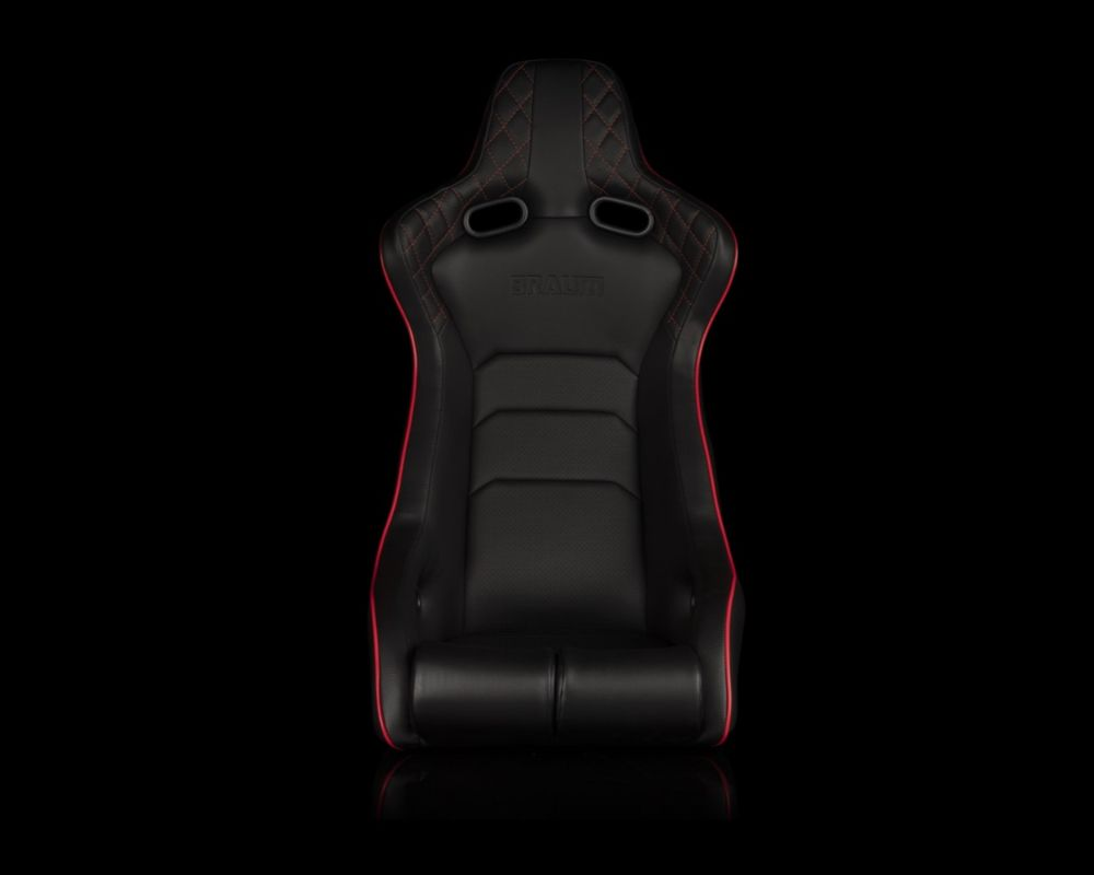 Braum Racing Venom-X Series Fixed Back Bucket Seat - Diamond Edition (Red Stitching|Piping) - BRR7-BDRS