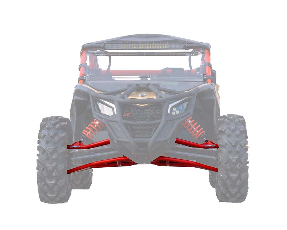 """SuperATV Red 72"""" Wide High Clearance Front A-Arms Can-Am Maverick X3 2017+ - AA-CA-X3RS-002-HC-14"""