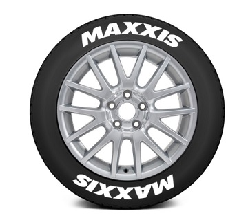 """Tire Stickers Permanent Raised Rubber Lettering 'Maxxis' - 4 Of Each - 17""""-18"""" - 1"""" - White - MAX-1718-1-4-W"""