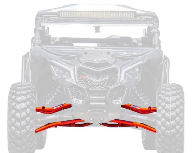 SuperATV High Clearance Front A Arms Red 64 Inch Wide Can-Am Maverick X3 900 2018+ - AA-CA-X3-001-TU-14
