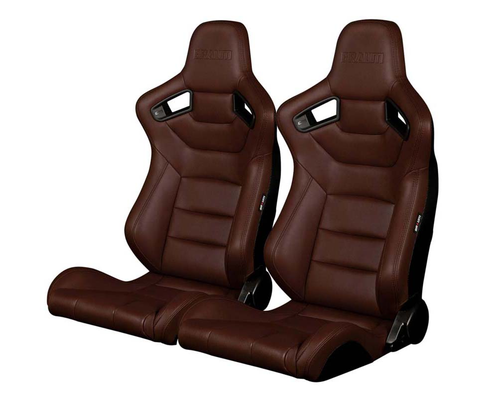 Braum Racing Elite Series Sport Seats - Brown Leatherette - BRR1-CPBS