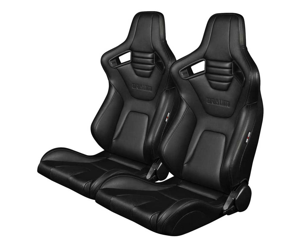 Braum Racing Elite-X Series Sport Seats Black Leatherette Black Stitching - BRR1X-BKBS