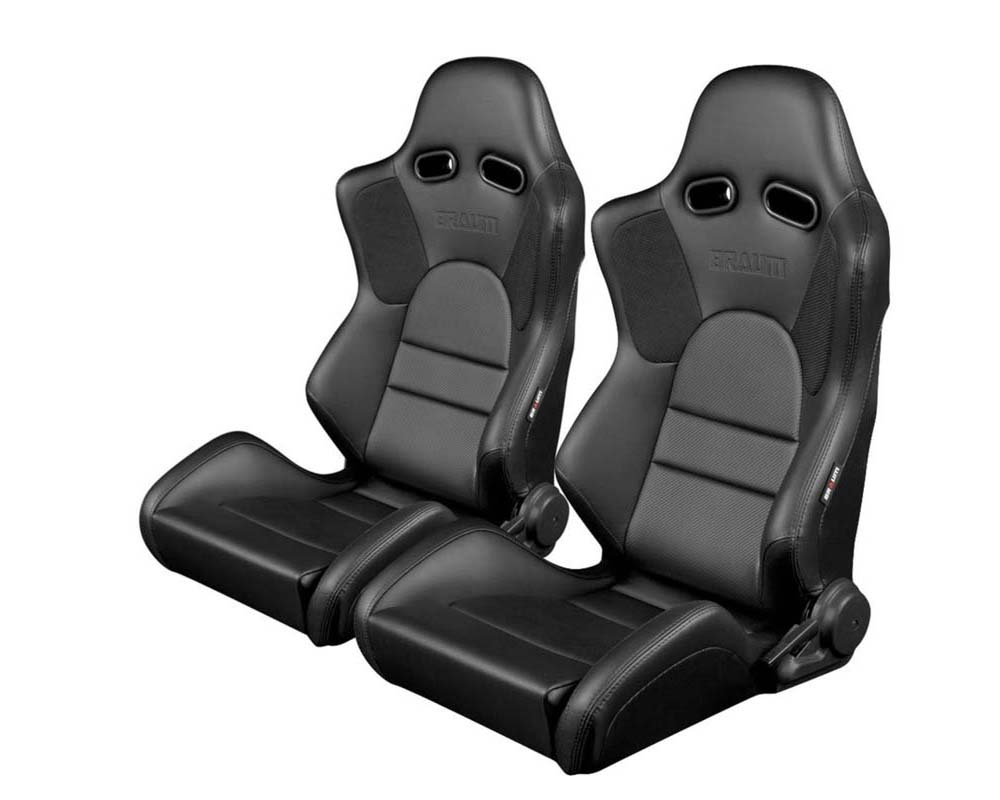 Braum Racing Advan Series Sport Seats Black Leatherette with Black Stitching - BRR2-BKBK