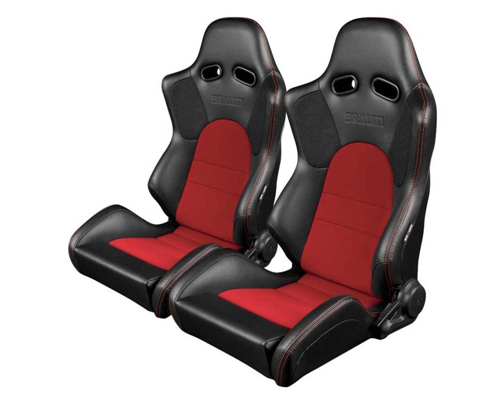 Braum Racing Advan Series Sport Seats Black Leatherette with Red Fabric Insert - BRR2-BKRD