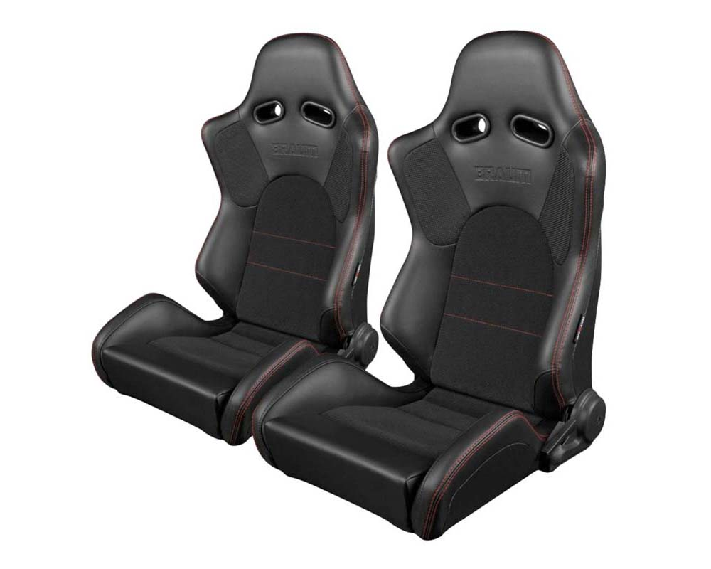 Braum Racing Advan Series Sport Seats - Black Leatherette (Red Stitching) - BRR2-BKRS