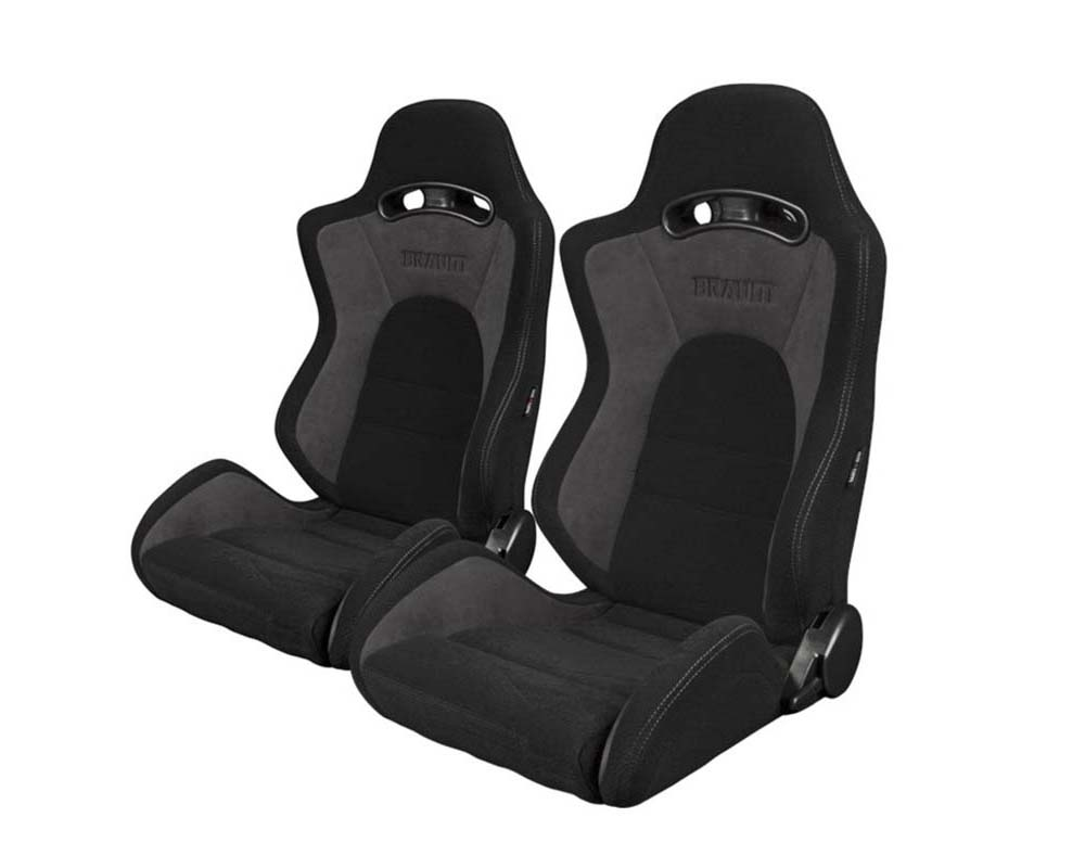 Braum Racing S8 Series V2 Sport Seats Black Cloth with Grey Microsuede - BRR3-BKGY2