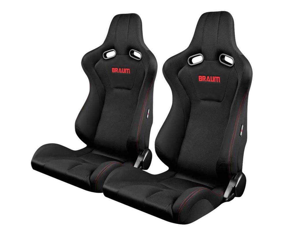 Braum Racing Venom Series Sport Seats Black Cloth with Red Stitching - BRR7-BKRS