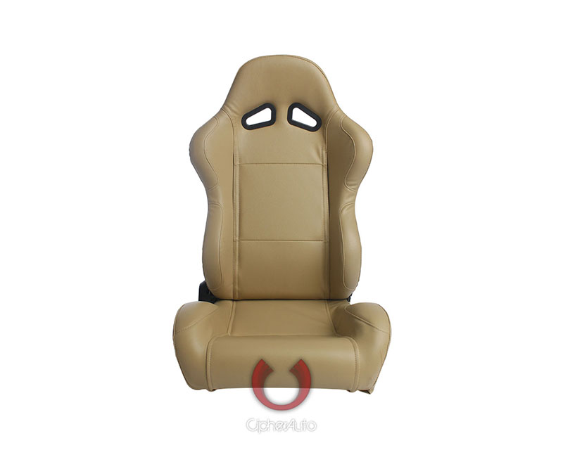 Cipher Auto Beige Synthetic Leather Racing Seats - Pair - CPA1001PBG