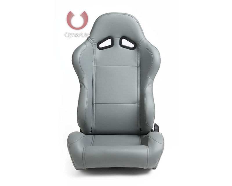 Cipher Auto Gray Synthetic Leather Racing Seats - Pair - CPA1001PGY
