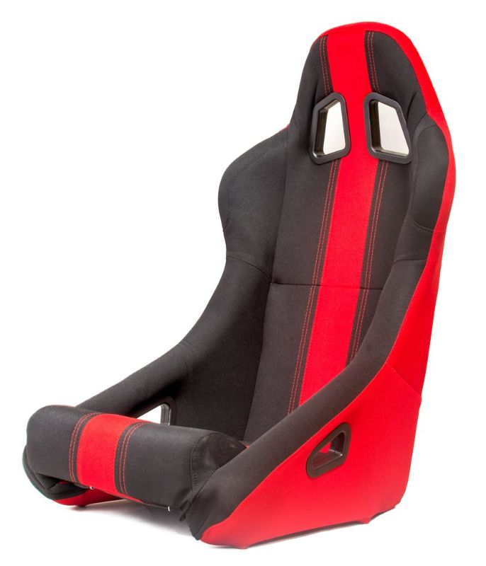 Cipher Auto Racing Seat Fabric Full Bucket All Black with Red Stripe - CPA1005FBK-RD(SINGLE)