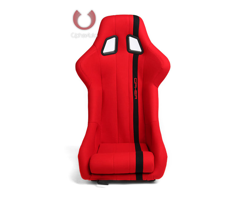 Cipher Auto Red Cloth w/ Black Stripe Full Bucket Non Reclineable Racing Seats - Single - CPA1008FRD(SINGLE)