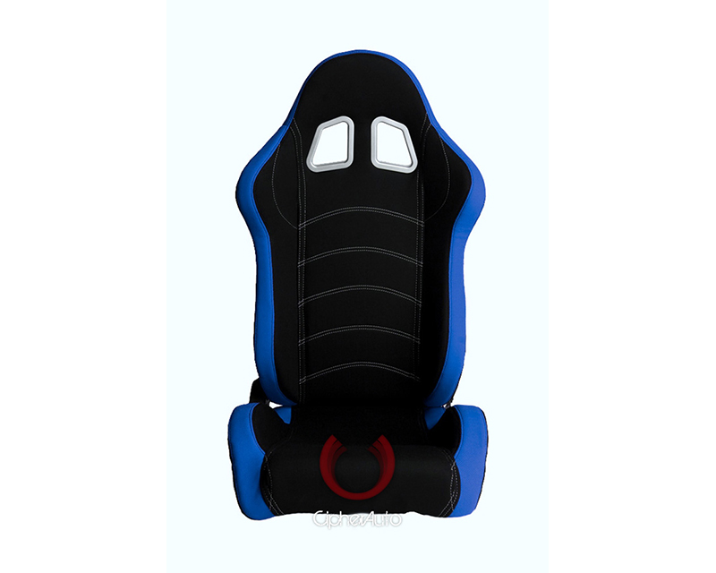 Cipher Auto Blue|Black Cloth Racing Seats - Pair - CPA1018FBUBK