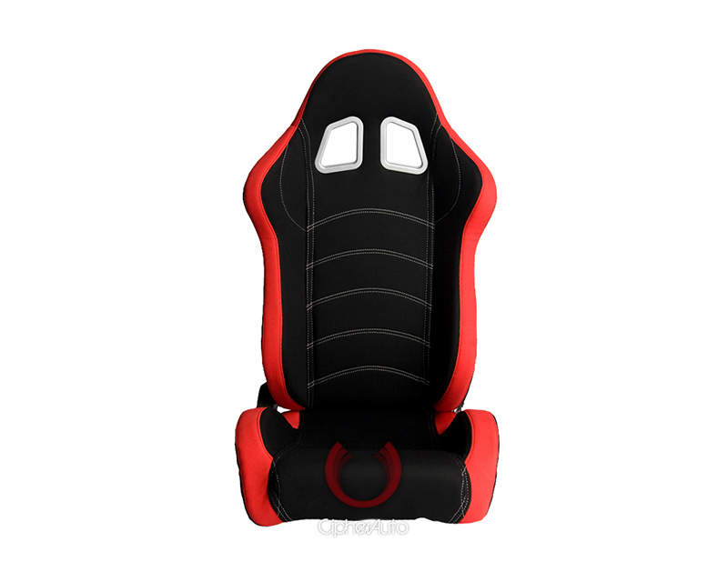 Cipher Auto Red|Black Cloth Racing Seats - Pair - CPA1018FRDBK