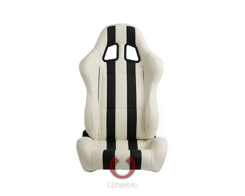 Cipher Auto White w/ Black Stripes Synthetic Leather Racing Seats - Pair - CPA1026PWH-BK