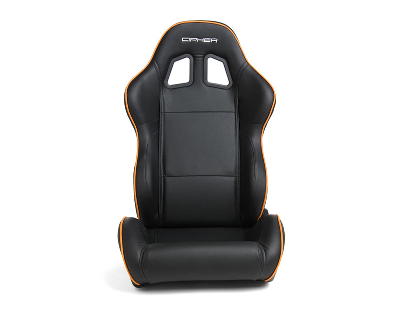 Cipher Auto Black w/ Orange Piping Synthetic Leather Racing Seats - Pair - CPA1031PBK-O