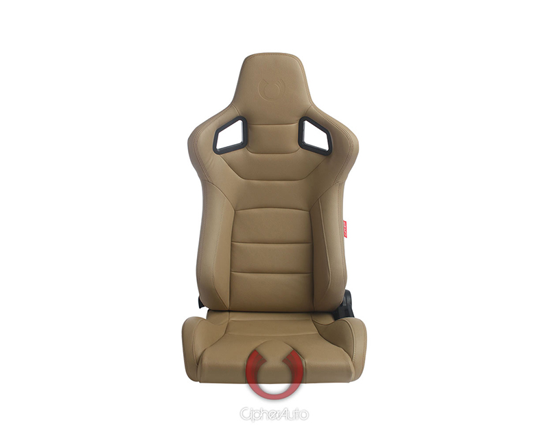 Cipher Auto Beige PU Leather Carbon Fiber w/ Brown Stitches Euro Racing Seats - Pair - CPA2001PCFBG