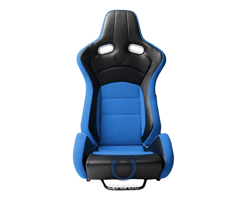 Cipher Auto Black Blue Cloth|PU Leather Carbon Fiber PU VP-8 Racing Seats - Pair - CPA2003CFBKBU