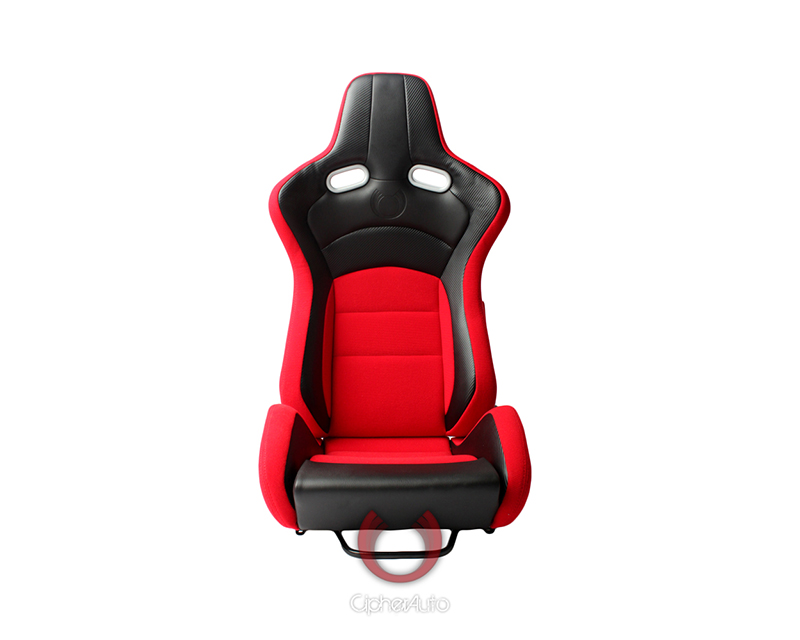 Cipher Auto Black Red Cloth|PU Leather Carbon Fiber PU VP-8 Racing Seats - Pair - CPA2003CFBKRD