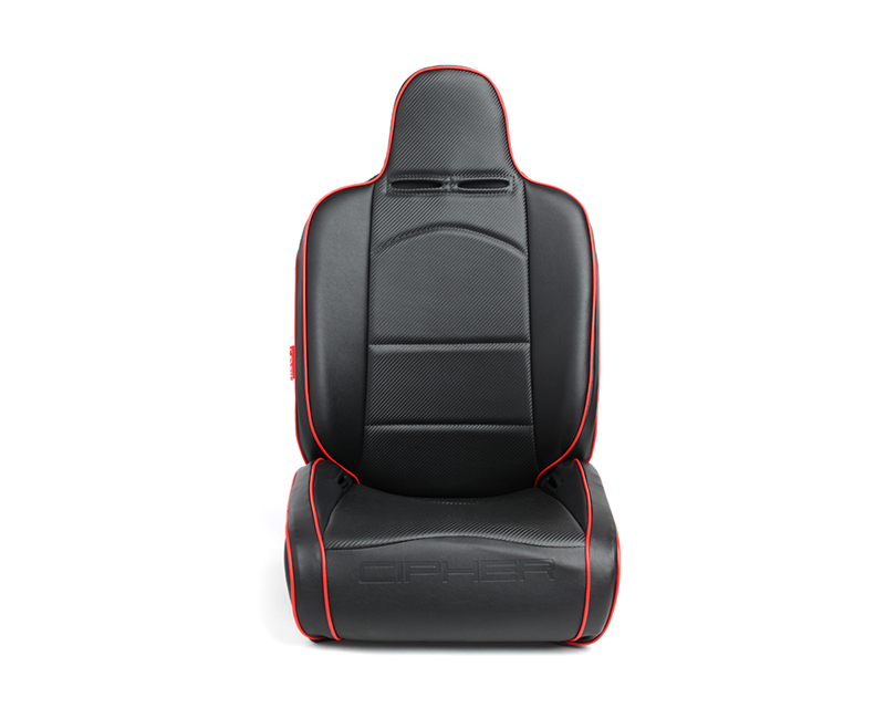 Cipher Auto Black Leather Carbon Fiber PU w/ Red Piping Universal Reclineable Suspension|Jeep Seats - Pair - CPA3002PBK-R