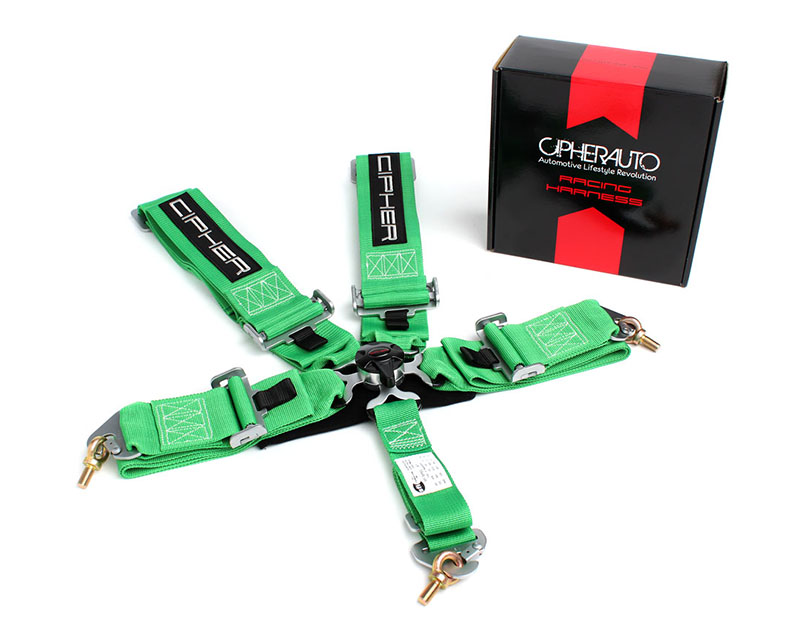 Cipher Auto Green 5 Point Camlock Racing Harness - Single - CPA4005GN