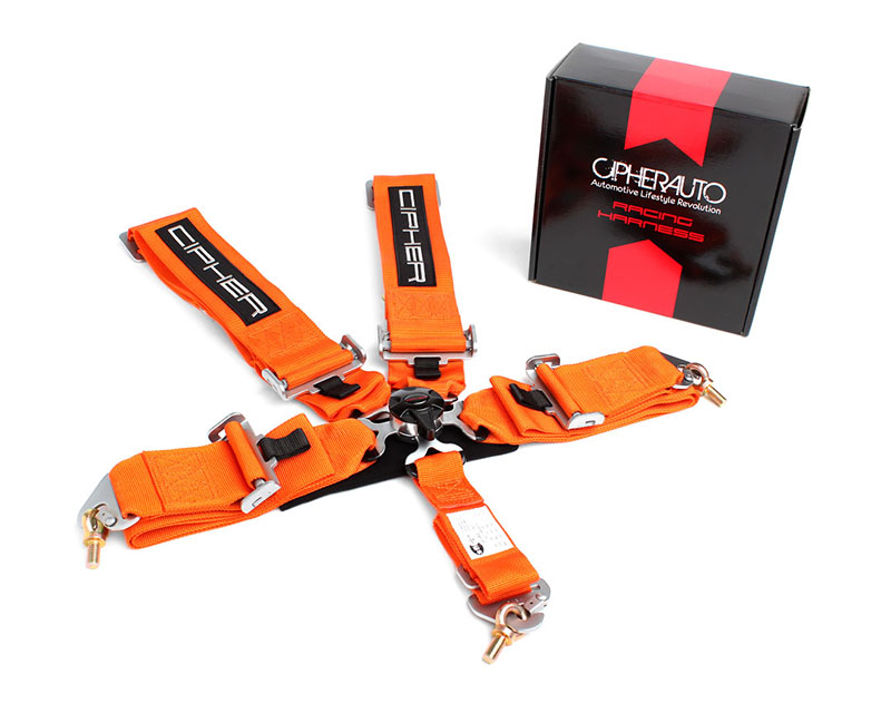 Cipher Auto Orange 5 Point Camlock Racing Harness - Single - CPA4005OR