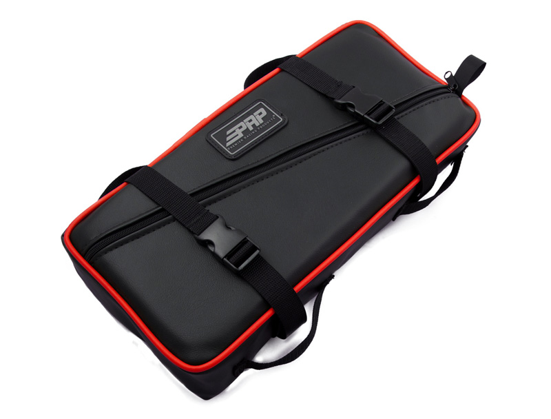 Low Profile Tool Bag Black With Red Piping Vinyl Coated Nylon PRP Seats - E11-L