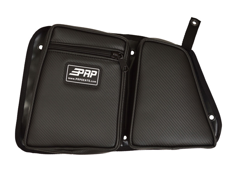 Door Bag with Knee Pad for Polaris RZR Rear Passenger Side Black W/Black Piping PRP Seats - E41-210