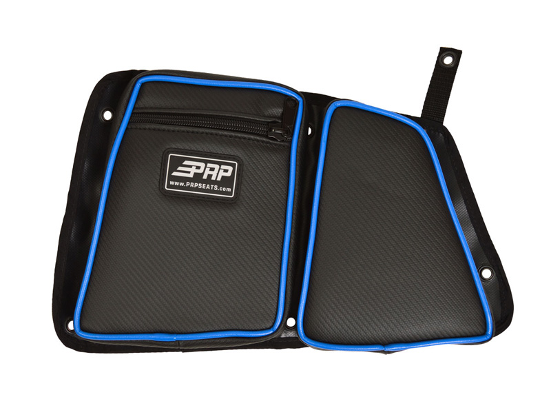 Door Bag with Knee Pad for Polaris RZR Rear Passenger Side Black W/Blue Piping PRP Seats - E41-V
