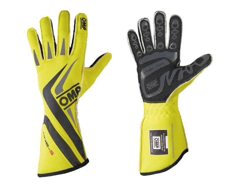 OMP Racing Fluorescent Yellow, Black and Gray One-S Racing Gloves | M - IB/755E/GF/M