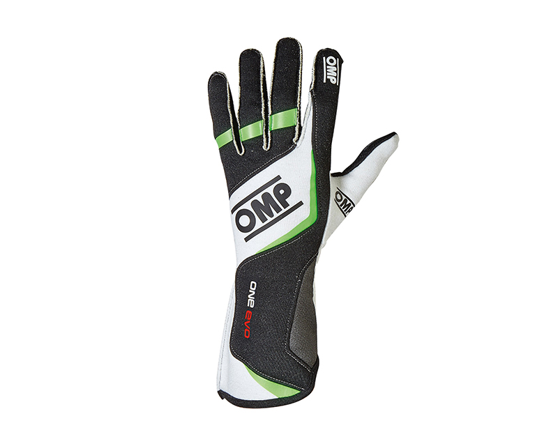 OMP Racing Black, White and Fluorescent Green One Evo Racing Gloves | S - IB/759/NV/S