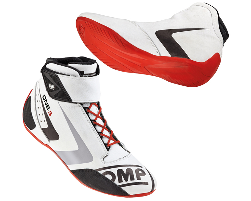 OMP Racing White, Red and Black One-S Evo Racing Shoes US 14.5/15 | EU 48 - IC/80702048