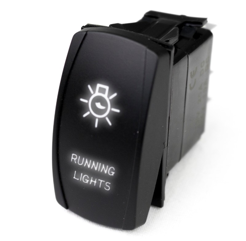 "Race Sport Lighting White LED Rocker Switch with White LED Radiance ""Running Lights - MSTLS01W"