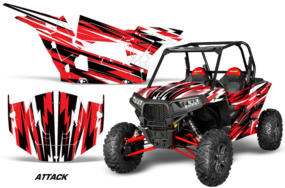 AMR Racing  Full Custom UTV Graphics Decal Kit Wrap Attack Red Polaris RZR 1000 13-18 - POL-RZR1000-2DR-13-18-AT R