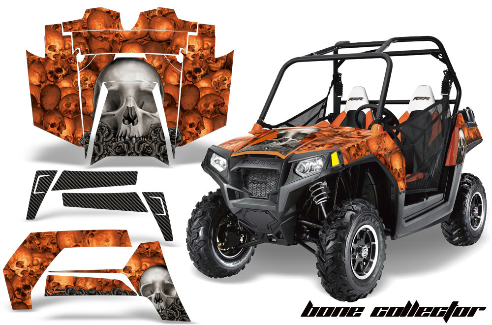 AMR Racing  Full Custom UTV Graphics Decal Kit Wrap Bones Orange Polaris RZR 800 11-14 - POL-RZR800-11-14-BC O