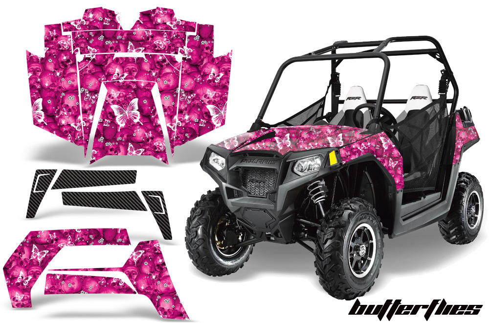 AMR Racing  Full Custom UTV Graphics Decal Kit Wrap Butterfly Pink Polaris RZR 800 11-14 - POL-RZR800-11-14-BF P