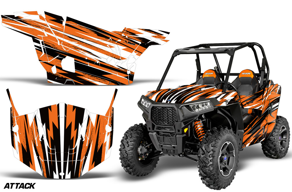 AMR Racing  Full Custom UTV Graphics Decal Kit Wrap Attack Orange Polaris RZR S 900 15-16 - POL-RZR900S-15-16-AT O