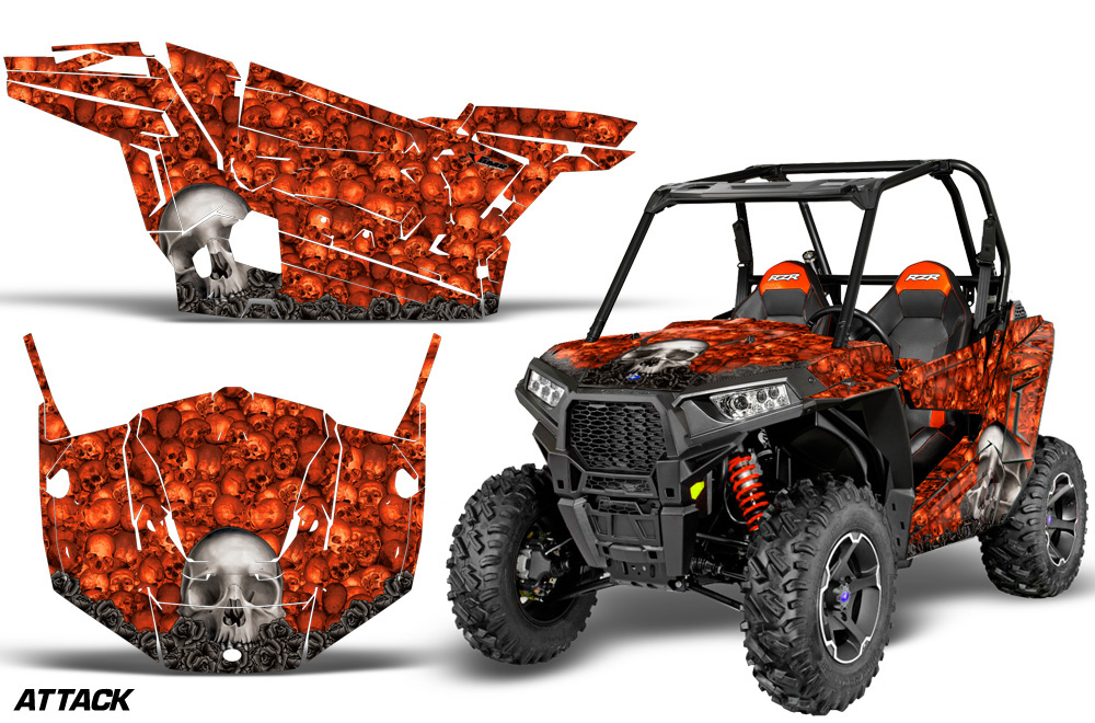 AMR Racing  Full Custom UTV Graphics Decal Kit Wrap Bones Orange Polaris RZR S 900 15-16 - POL-RZR900S-15-16-BC O
