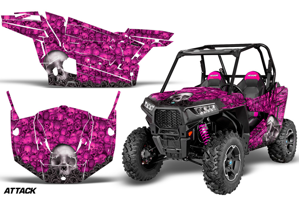 AMR Racing  Full Custom UTV Graphics Decal Kit Wrap Bones Pink Polaris RZR S 900 15-16 - POL-RZR900S-15-16-BC P