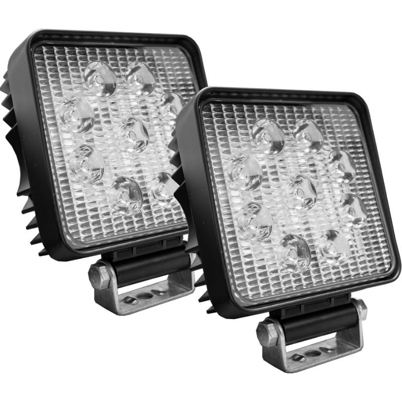 Race Sport Lighting Street Series Square LED Work Spot Light 4 Inch 27 Watts 1,755 Lumens Pair - RS-27W-S-2