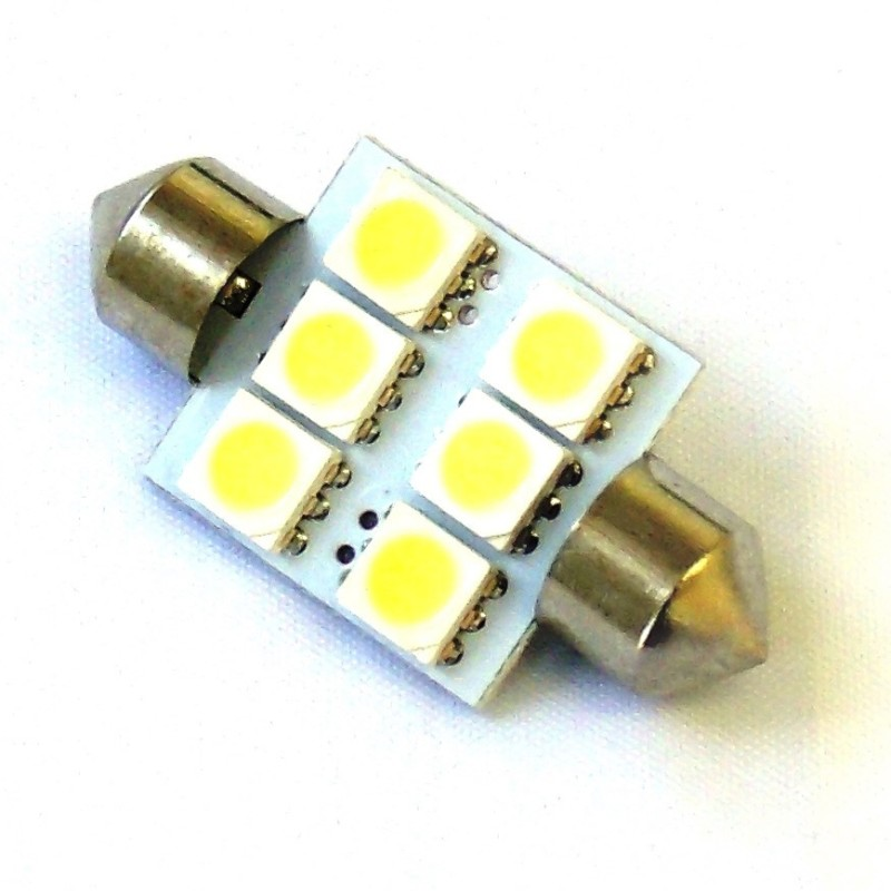 Race Sport Lighting White 36mm 5050 LED 6 Chip Bulbs Single - RS-36MM-W-5050
