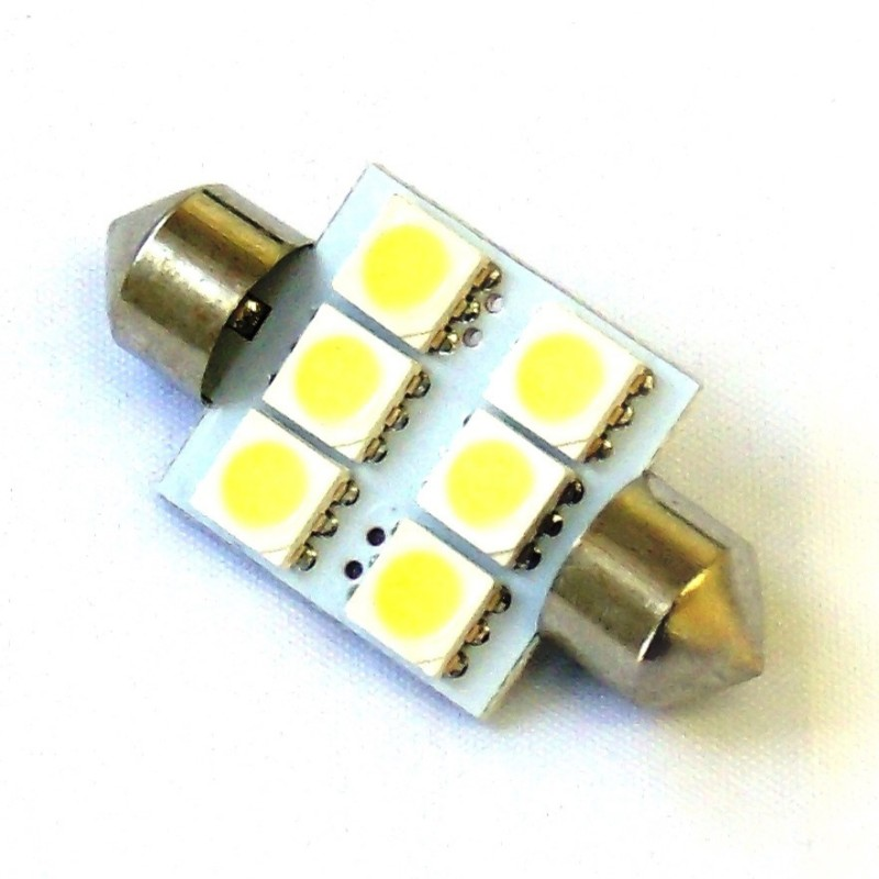 Race Sport Lighting Blue 36mm 5050 LED 6 Chip Bulbs Single - RS-36MM-B-5050