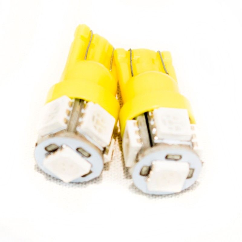 Race Sport Lighting Amber T10 5050 LED 5 Chip Bulbs Pair - RS-T10-A-5050