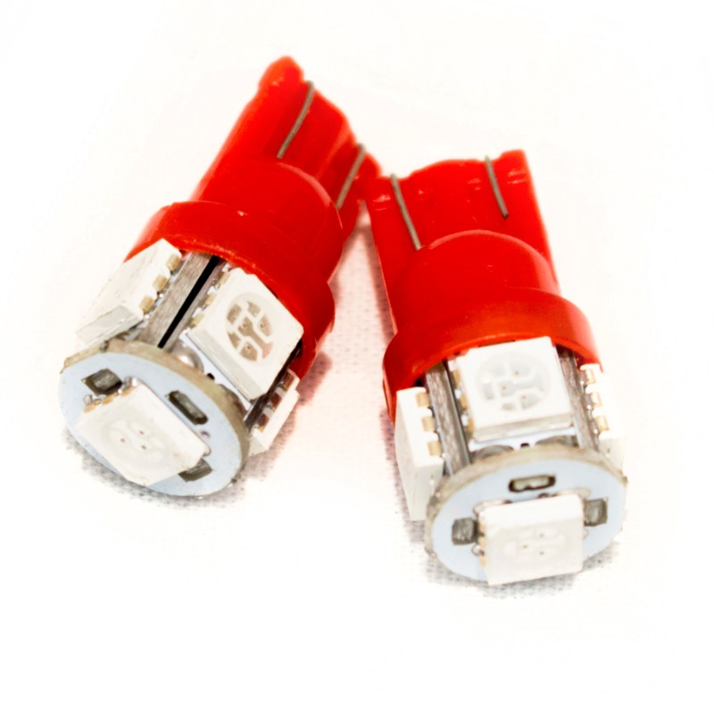 Race Sport Lighting Red T10 5050 LED 5 Chip Bulbs Pair - RS-T10-R-5050