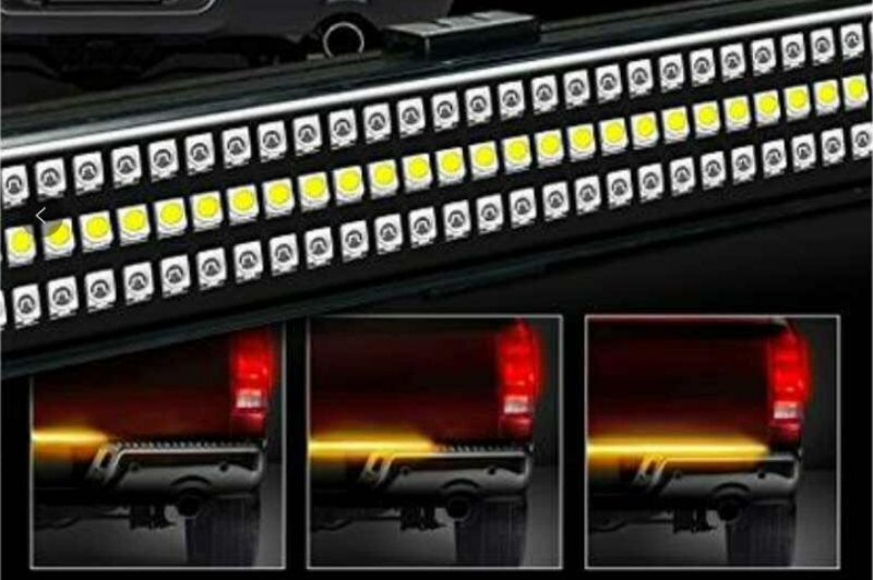 Race Sport Lighting Triple Row LED Truck Tailgate Light Bar 5-function 3-Color IP68 with Sequential Amber Turn Signals 48 Inch - RS120048