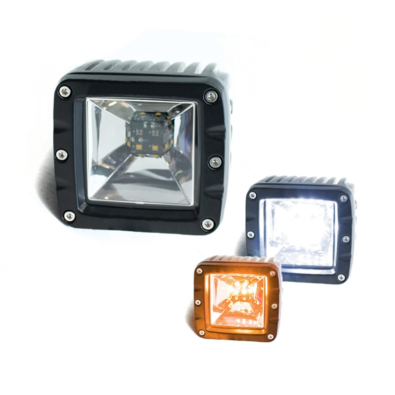 Race Sport Lighting White and Amber 2-Function LED Cube style Forward light - RS12KA