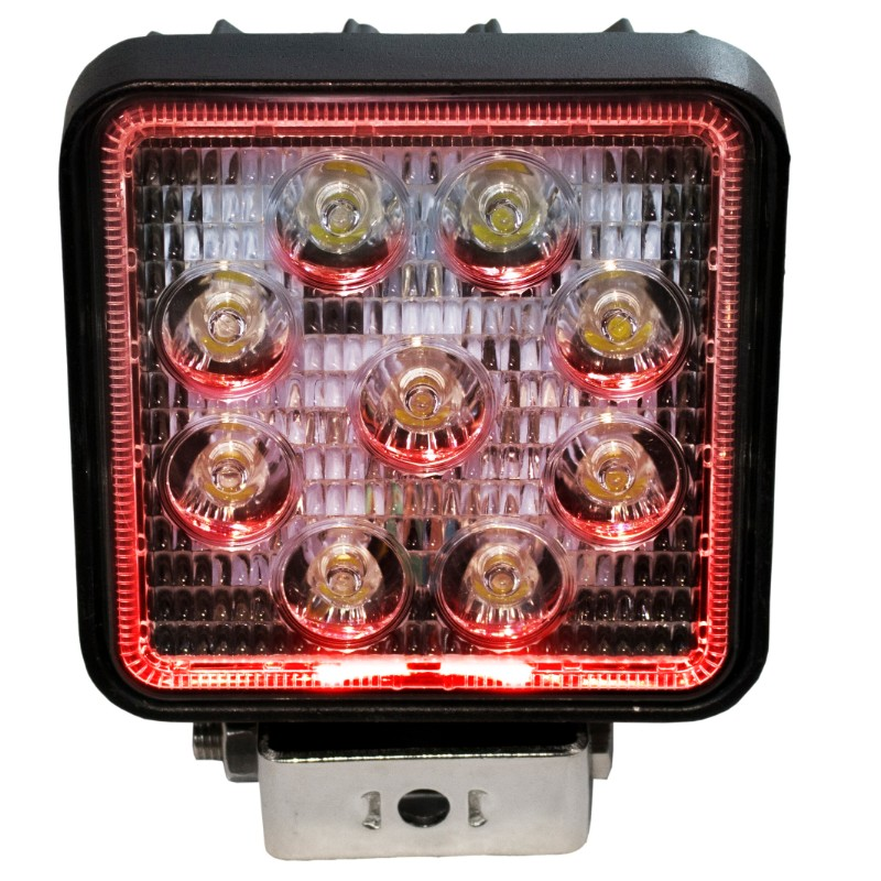 Race Sport Lighting Red Halo LED Spot Light  Square 27 Watts - RS27W4R