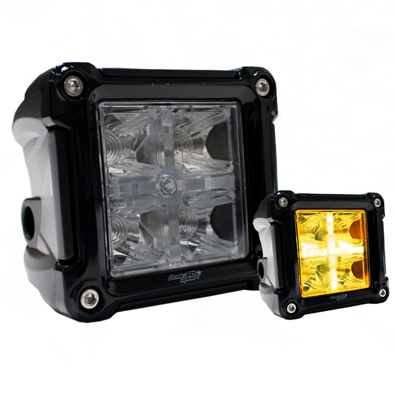 Race Sport Lighting Dual Function 3x3 Cube style Hi Power LED spot light with Amber marker and turn signal light functions - RS3X3HALO