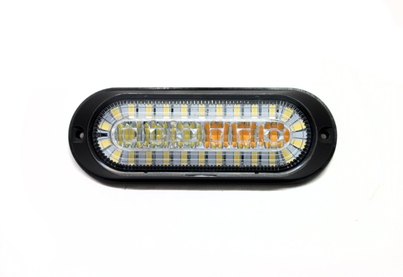 Race Sport Lighting Dual Function Ultra Thin Flush Mount Amber Flasher Strobe with White LED DRL function SAE Certified J595 and J2087 - RS7003AWD