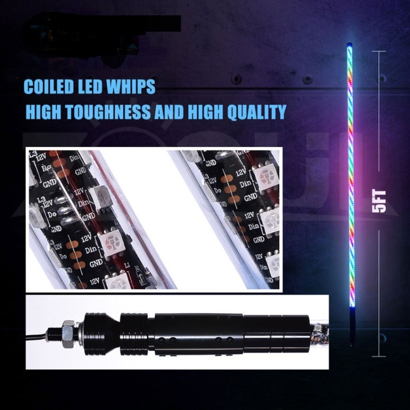 Race Sport Lighting Chase Mode ColorADAPT Series 36 Inch RGB Multi-Color Whip with Remote Control and over 150+ Patterns - RS8193FT