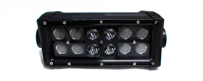Race Sport Lighting Combo-Flood/Beam Straight Hi-Performance Light Bar Blacked Out Series Straight, Double Row, Silver 7.5 Inch 36 Watts - RSBO36
